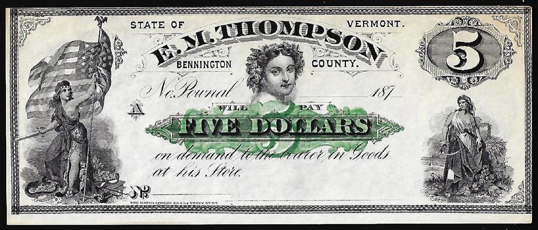 1870's $5 E.M. Thompson Obsolete Note