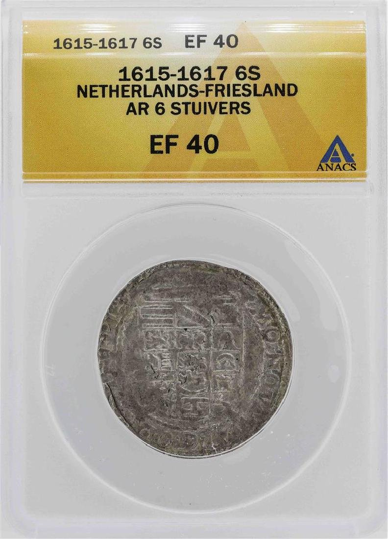 1615-1617 Netherlands-Friesland 6 Stuivers Coin ANACS