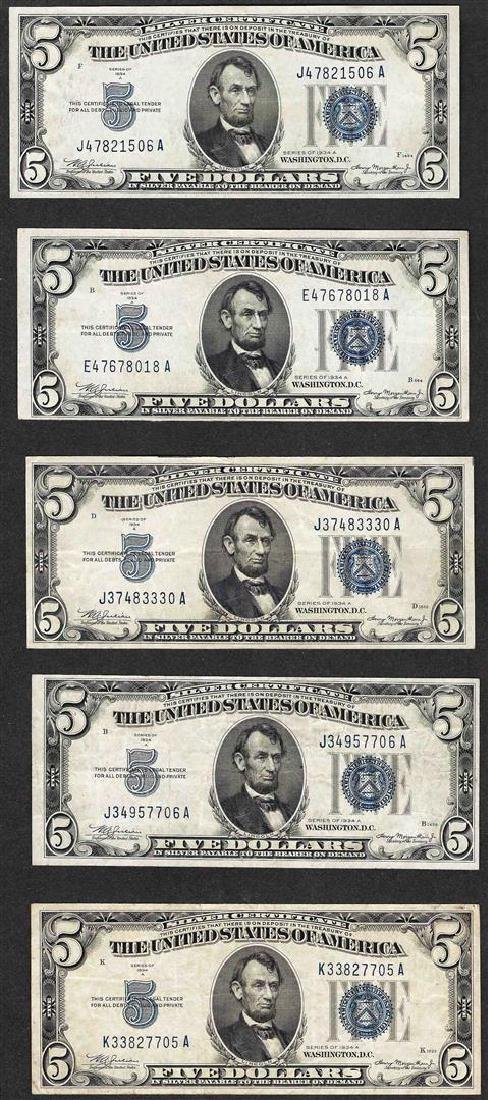 Lot of (5) 1934A $5 Silver Certificate Notes
