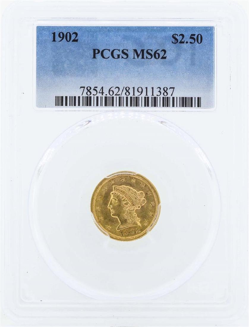 1902 $2 1/2 Liberty Head Quarter Eagle Gold Coin PCGS