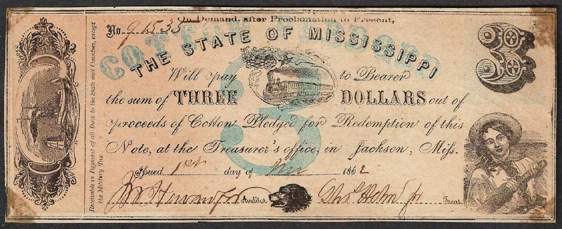 1862 $3 The State of Mississippi Obsolete Note