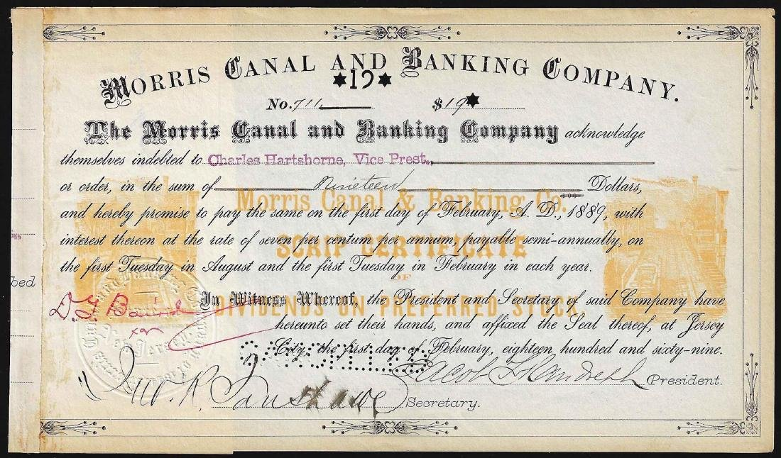 1889 Morris Canal & Banking Company Stock Certificate