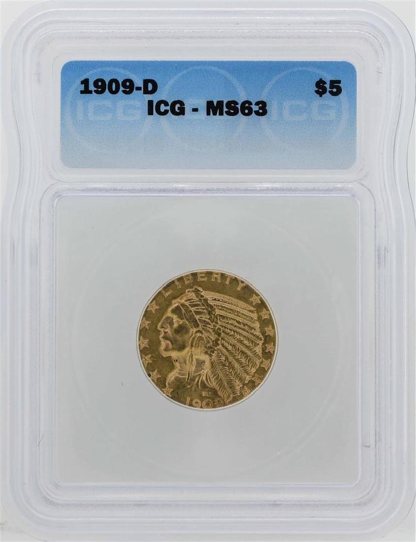 1909-D $5 Indian Head Half Eagle Gold Coin ICG MS63