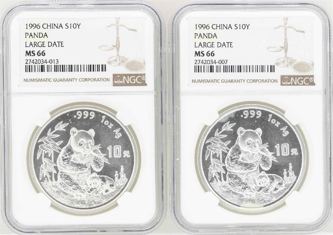 Set of (2) 1996 Large Date China 10 Yuan Silver Panda