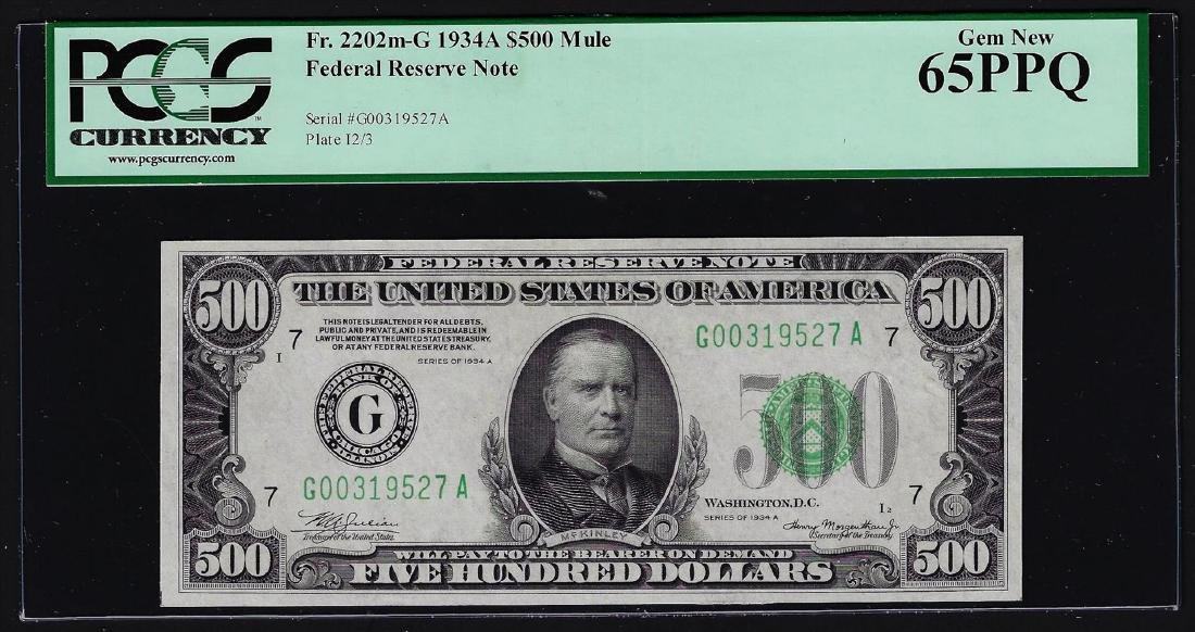 1934A $500 Mule Federal Reserve Note Chicago PCGS Gem