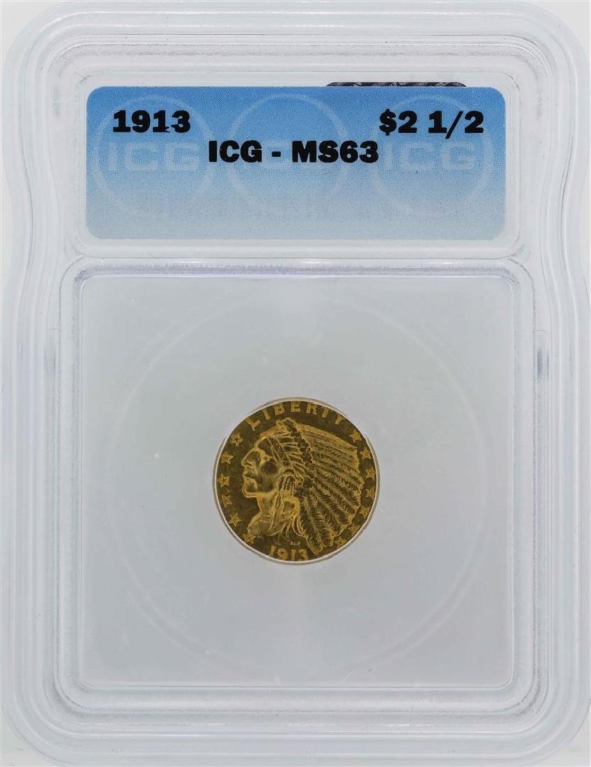 1913 $2 1/2 Indian Head Quarter Eagle Gold Coin ICG