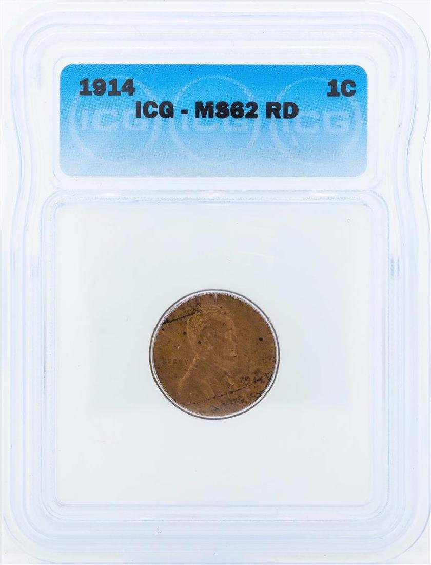 1914 Lincoln Wheat Penny ICG MS62RD