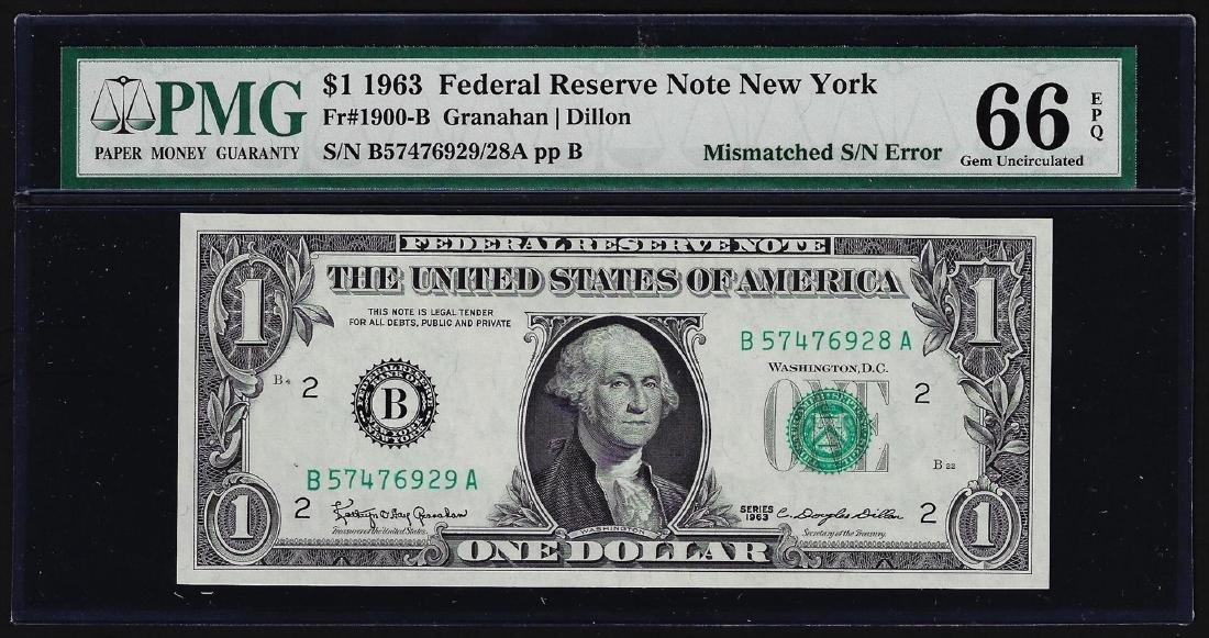 1963 $1 Federal Reserve Note Mismatched Serial Number