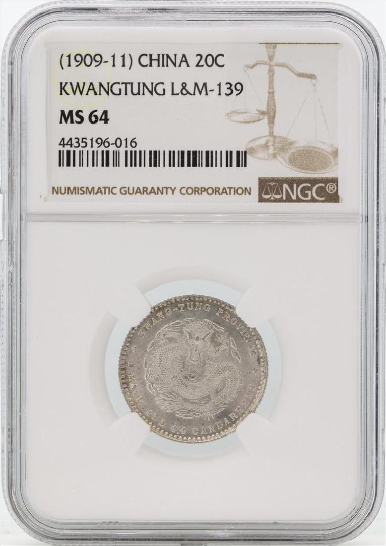 1909-11 China Kwangtung 20 Cents Coin NGC MS64