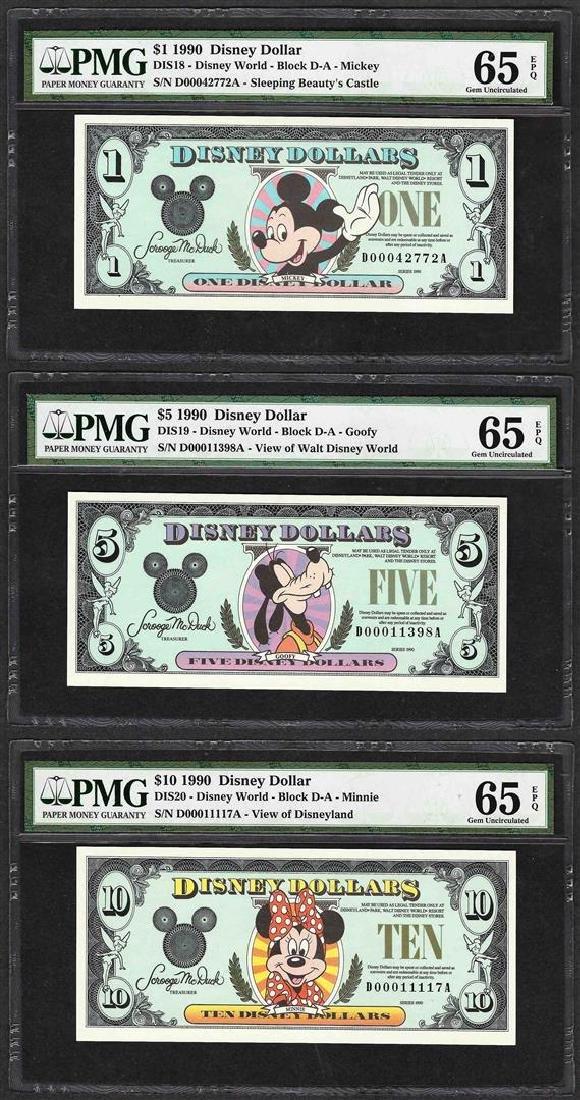 Set of 1990 $1/$5/$10 Disney Dollars Notes PMG Gem