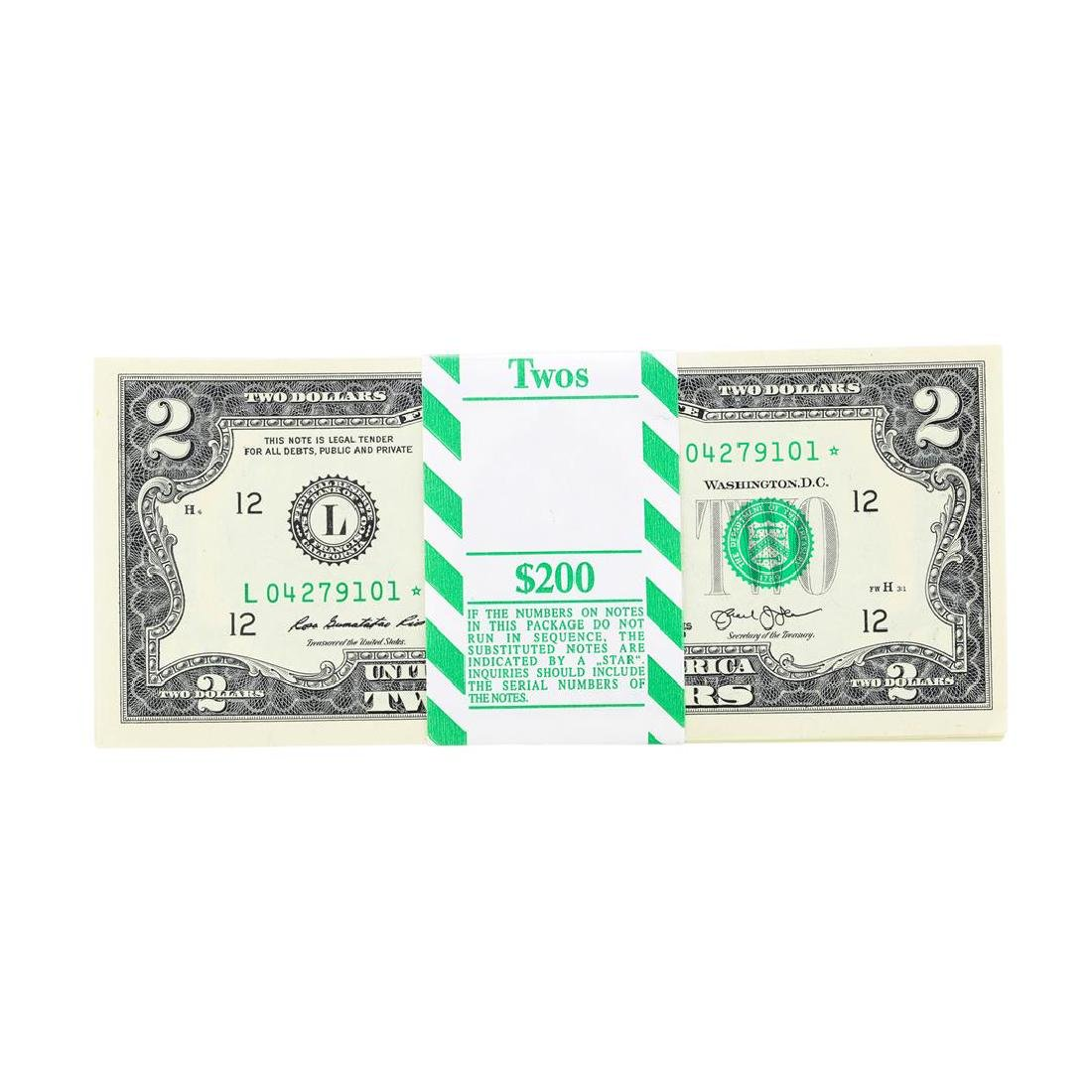 Pack of (100) 2013 $2 Federal Reserve STAR Notes