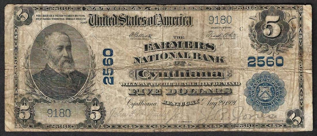 1902 $5 Farmers National Bank of Cythiana Note CH# 2560