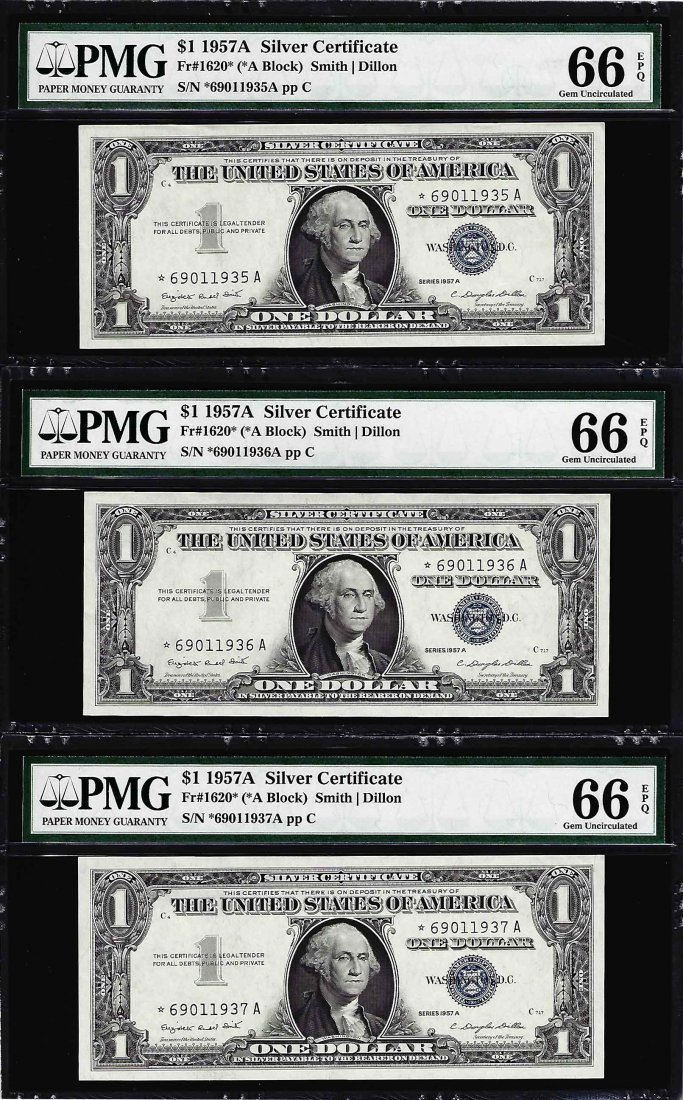 Lot of (3) 1957A $1 Silver Certificate STAR Notes