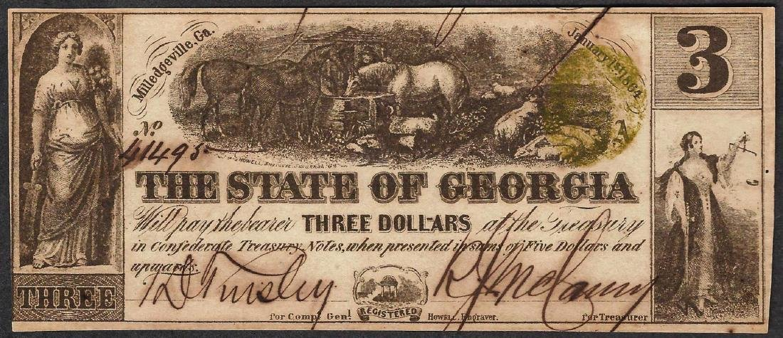 1864 $3 The State of Georgia Obsolete Note - Split