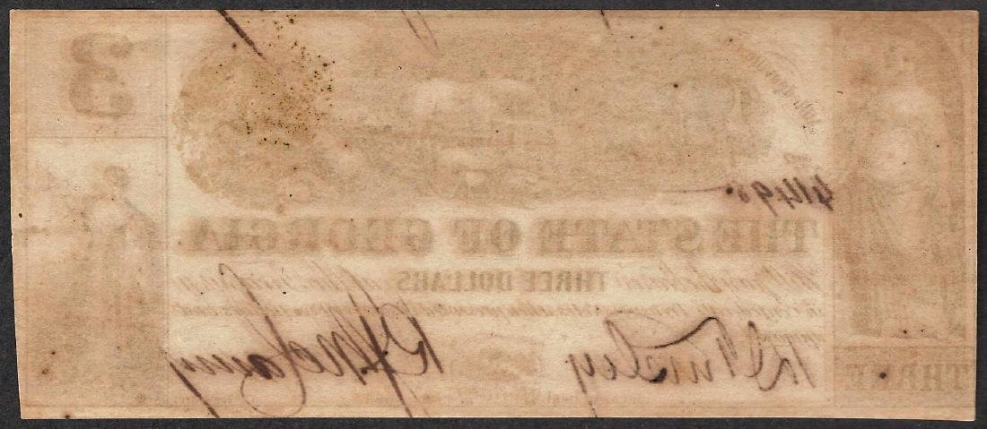 1864 $3 The State of Georgia Obsolete Note - Split - 2