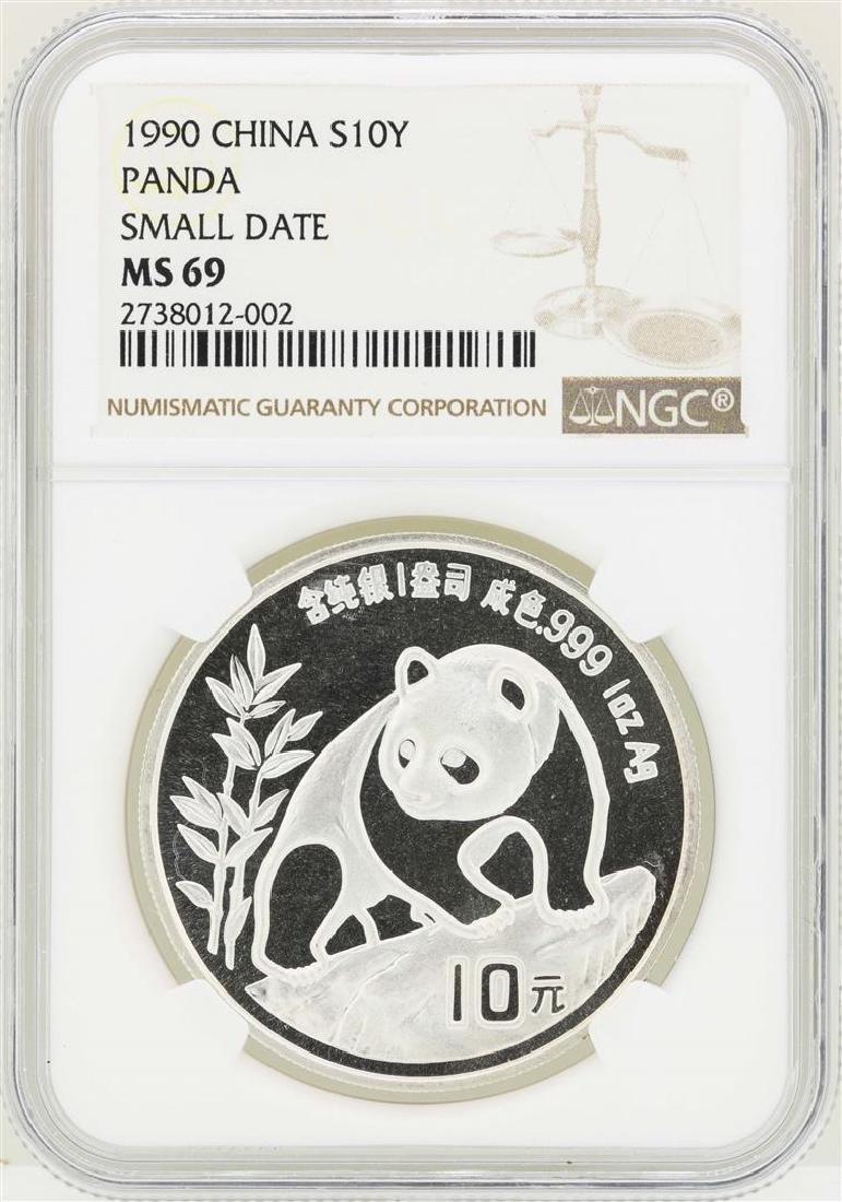1990 Small Date China 10 Yuan Panda Silver Coin NGC