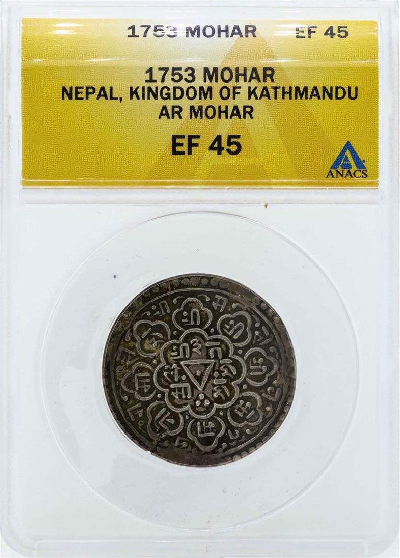 1753 Nepal Mohar Kingdom of Kathmandu Coin ANACS EF45