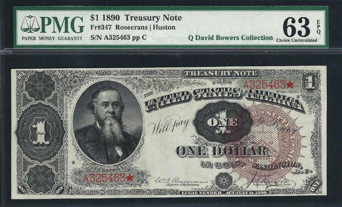 1890 $1 Treasury Note Fr.347 PMG Choice Uncirculated