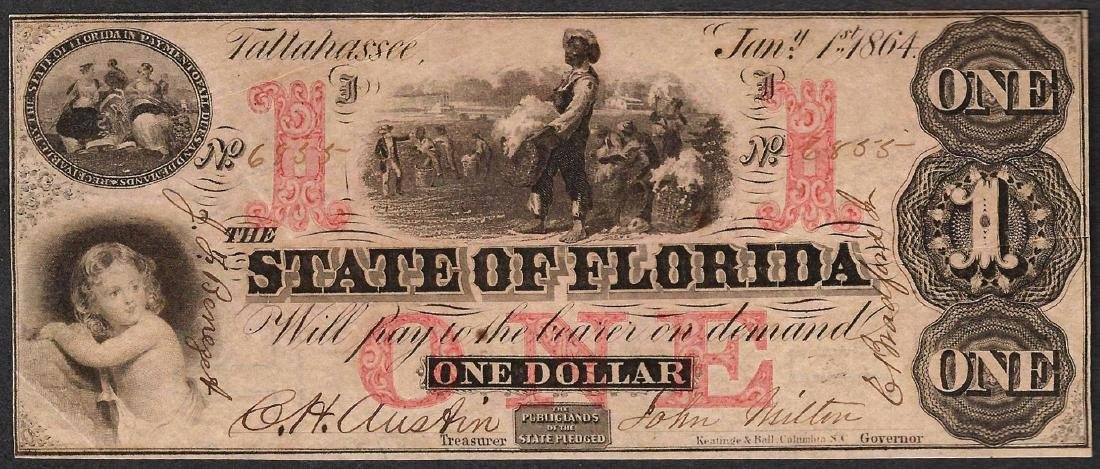 1864 $1 The State of Florida Obsolete Note