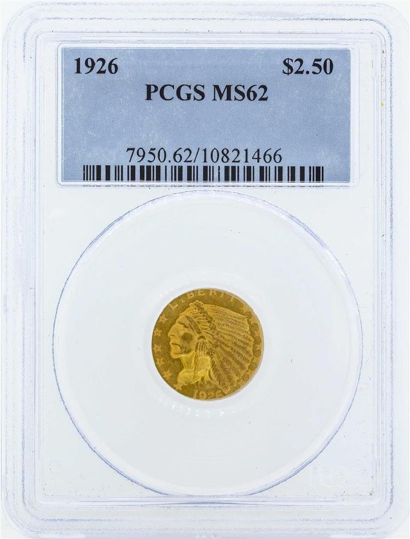 1926 $2 1/2 Indian Head Quarter Eagle Gold Coin PCGS