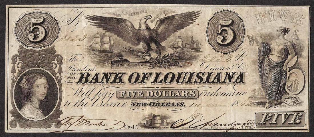 1862 $5 The Bank of Louisiana Obsolete Note