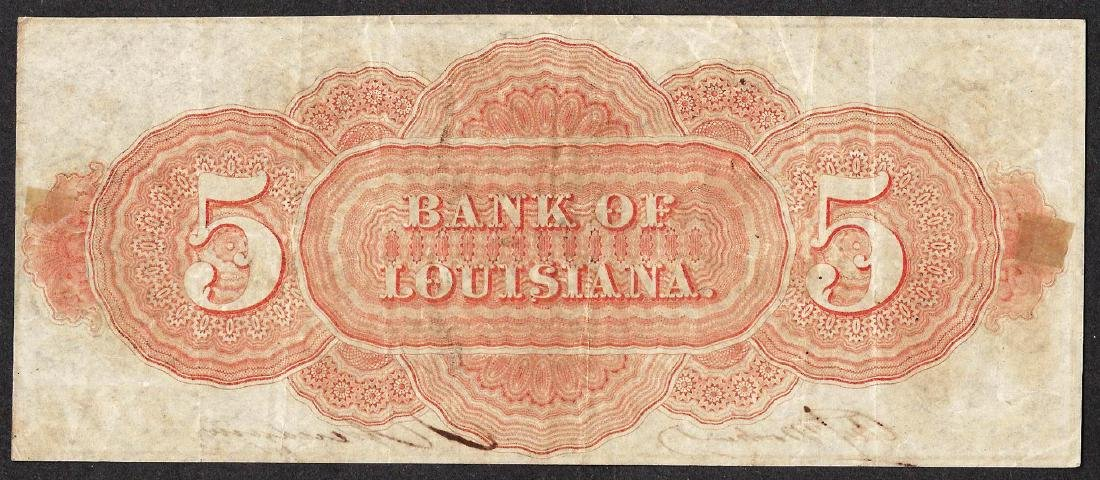 1862 $5 The Bank of Louisiana Obsolete Note - 2