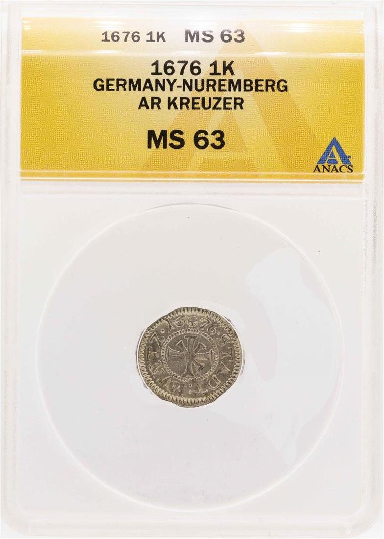 1676 Germany-Nuremberg AR Kreuzer Coin ANACS MS63