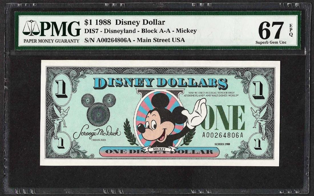 1988 $1 Disney Dollars Note PMG Superb Gem Uncirculated
