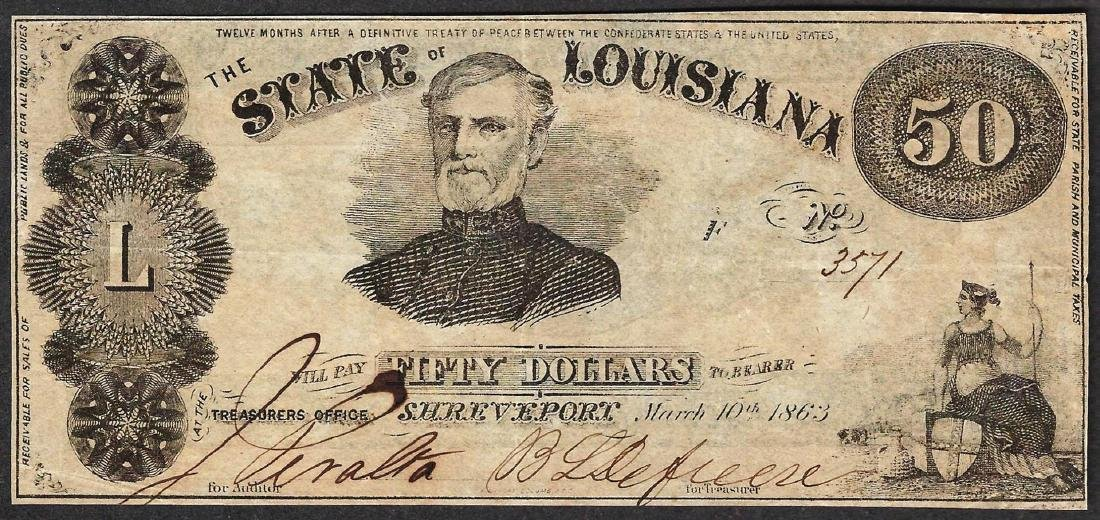 1863 $50 The State of Louisiana Obsolete Note