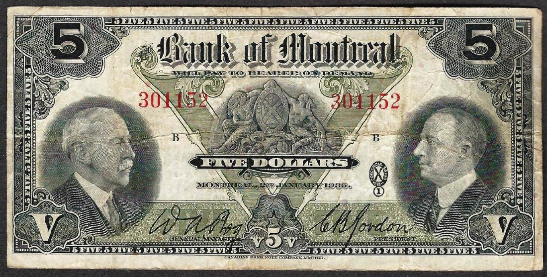 1935 $5 Bank of Montreal Note