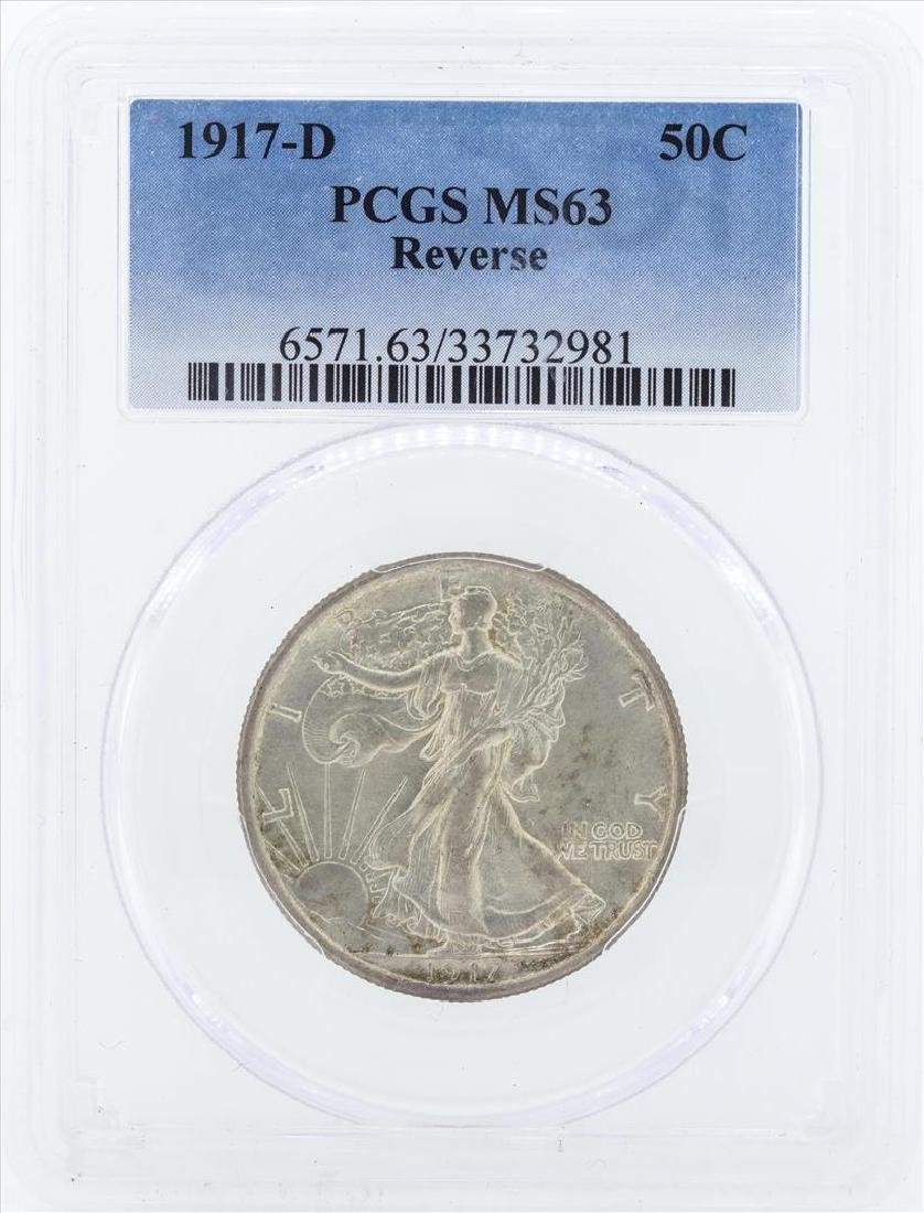1917-D Walking Liberty Half Dollar Coin PCGS MS63