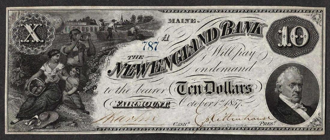 1857 $10 The New England Bank Obsolete Note