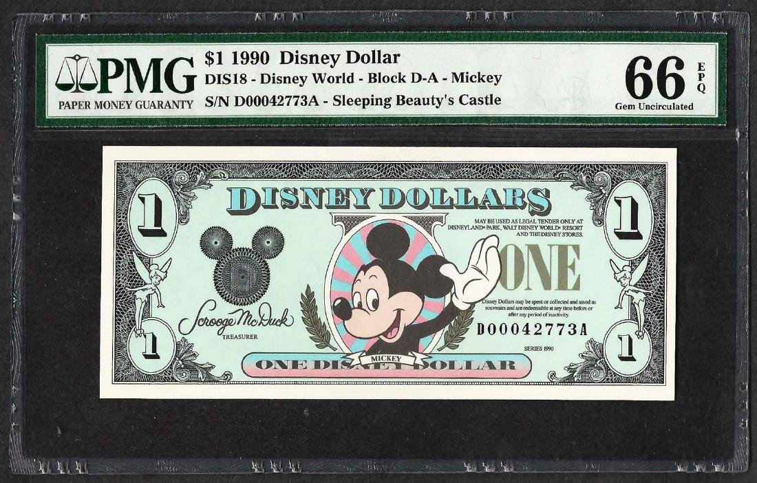 1990 $1 Disney Dollars Note PMG Gem Uncirculated 66EPQ