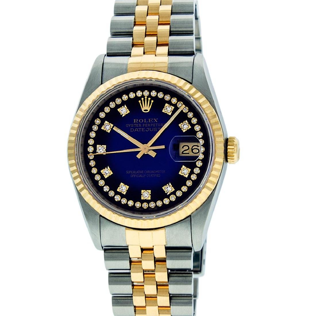 Rolex Mens 36mm Two Tone Yellow Gold Blue Vignette