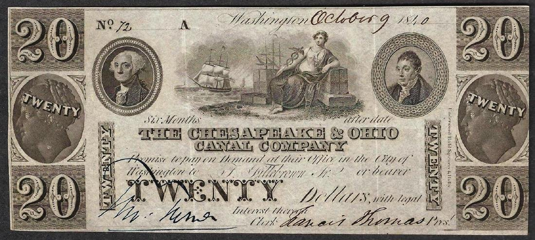1840 $20 The Chesapeake & Ohio Canal Company Obsolete