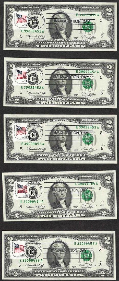 Lot of (5) 1976 $2 Federal Reserve Notes Inauguration