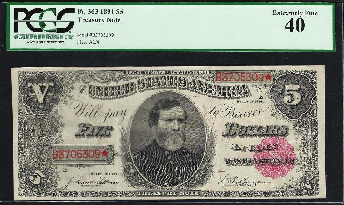 1891 $5 Treasury Note Fr.363 PCGS Extremely Fine 40