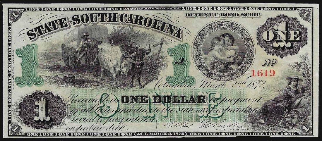 1872 $1 State of South Carolina Revenue Bond Scrip