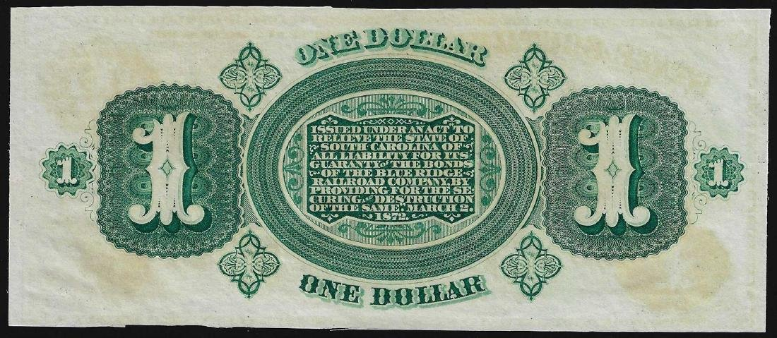 1872 $1 State of South Carolina Revenue Bond Scrip - 2