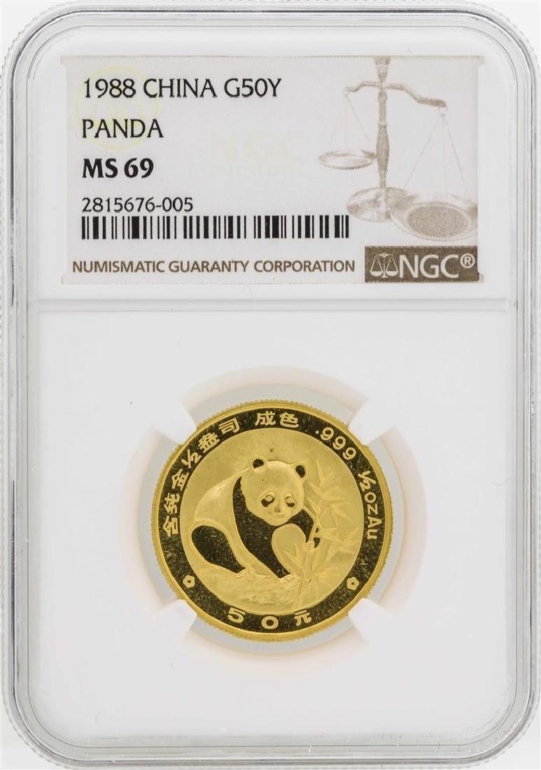 1988 China 50 Yuan Panda Gold Coin NGC MS69