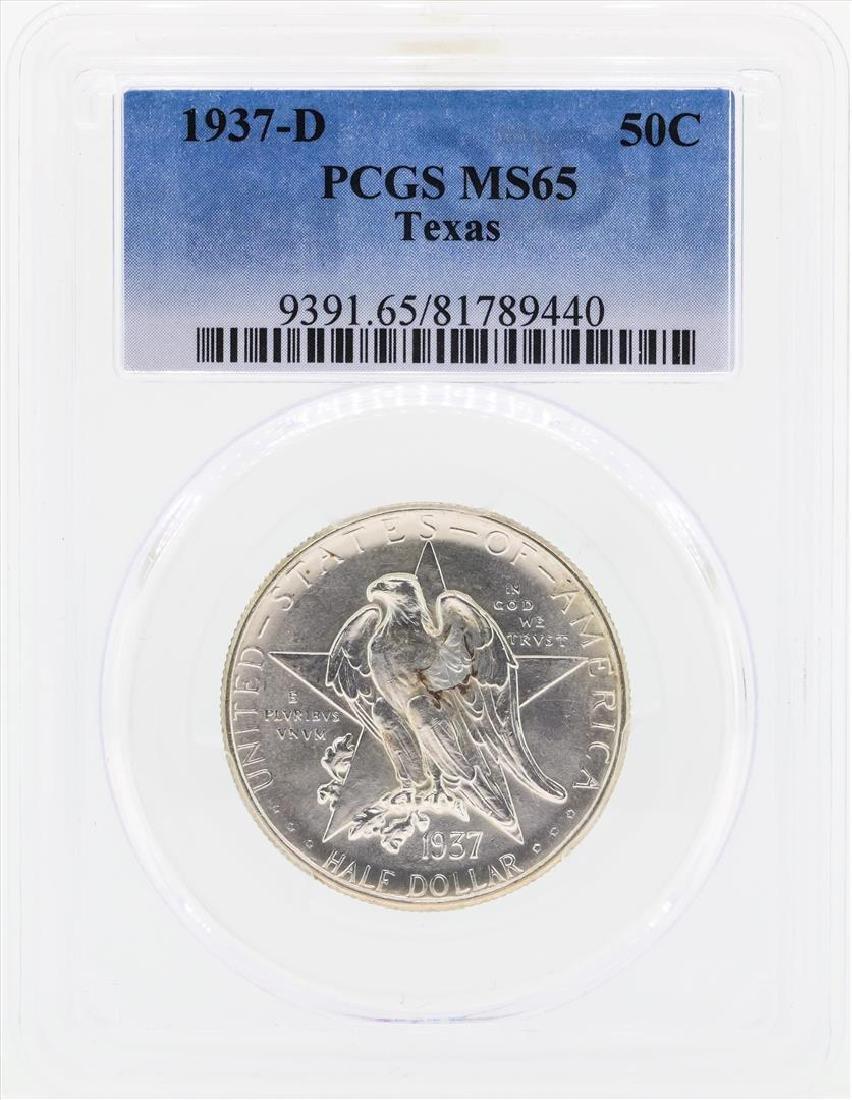 1937-D Texas Commemorative Half Dollar Coin PCGS MS65