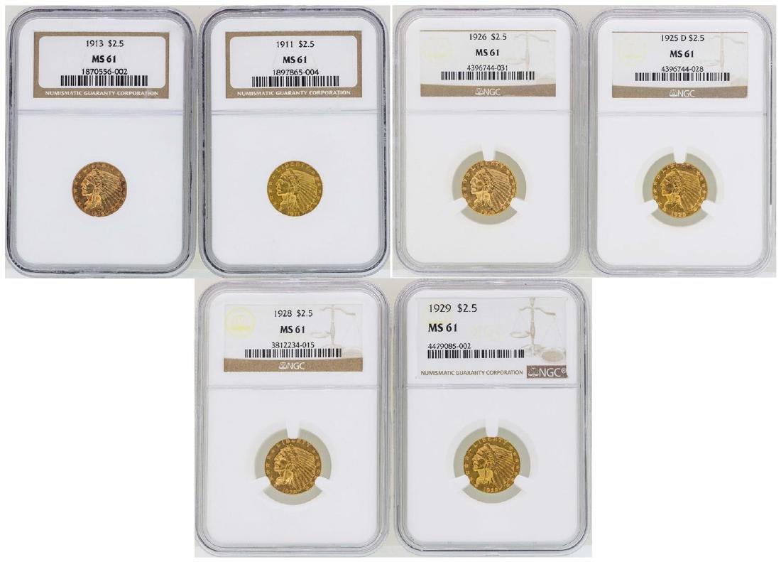 Lot of (6) $2 1/2 Indian Head Quarter Eagle Gold Coins