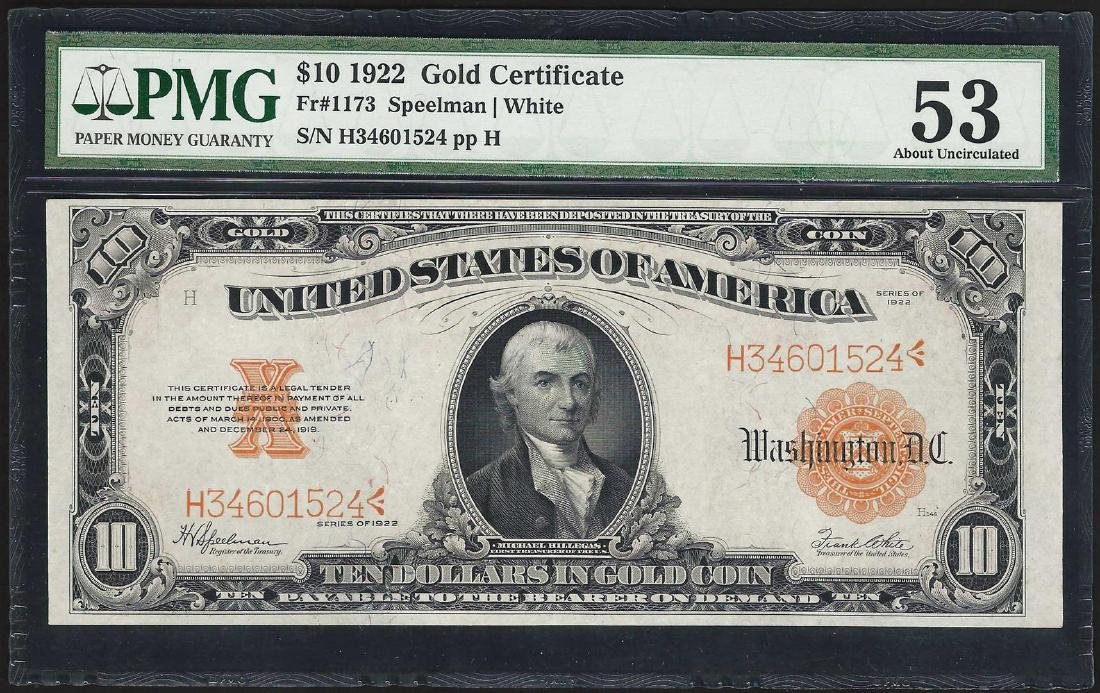 1922 $10 Gold Certificate Note Fr.1173 PMG About