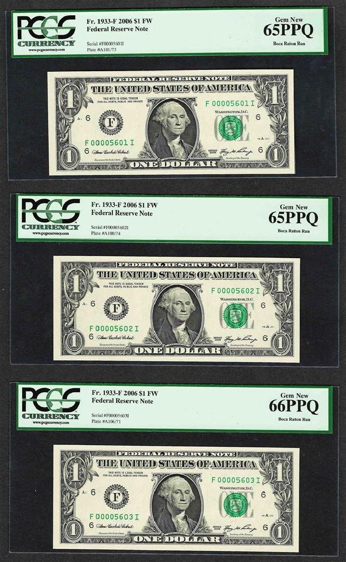 Lot of (3) 2006 $1 Federal Reserve Notes Fr.1933-F PCGS