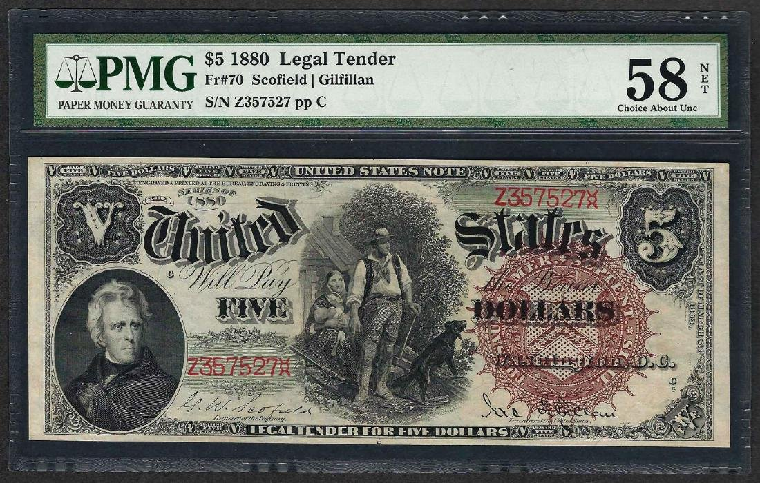 1880 $5 Woodchopper Legal Tender Note Fr.70 PMG Choice