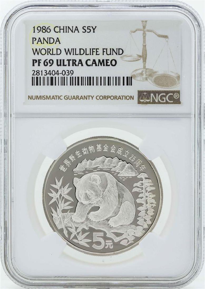 1986 China 5 Yuan Panda Silver Coin World Wildlife Fund