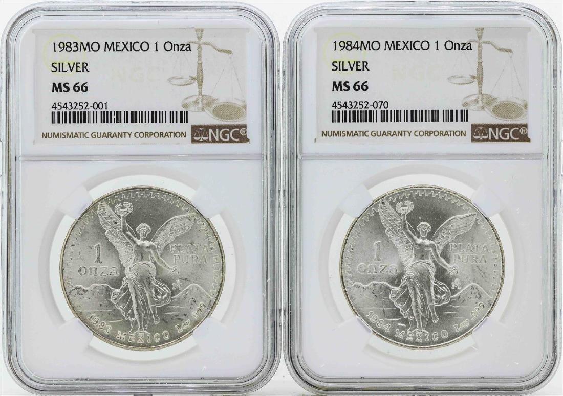 Set of 1983MO-1984MO Mexico 1 Onza Silver Libertad