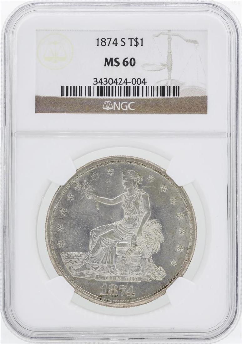 1874-S $1 Trade Silver Dollar Coin NGC MS60