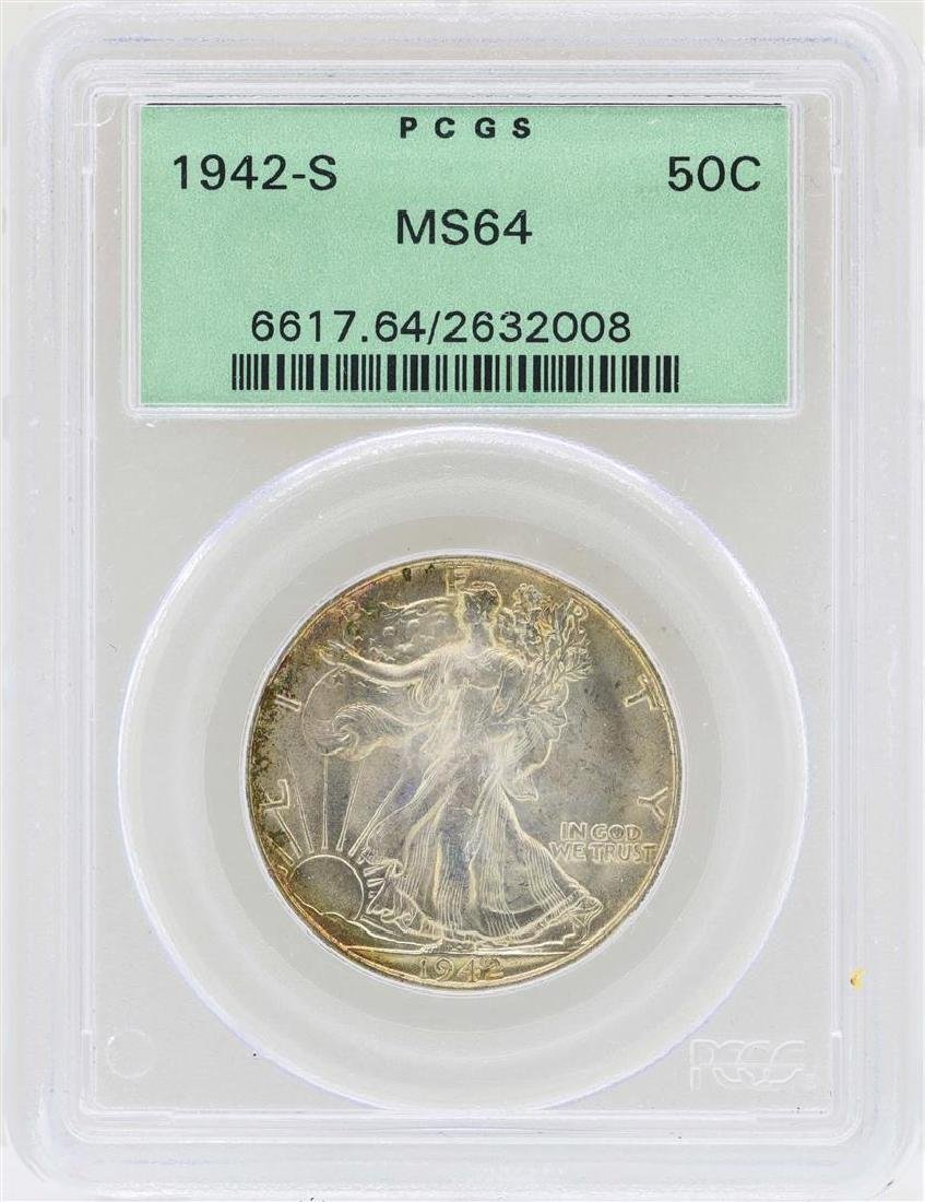 1942-S Walking Liberty Half Dollar Coin PCGS MS64