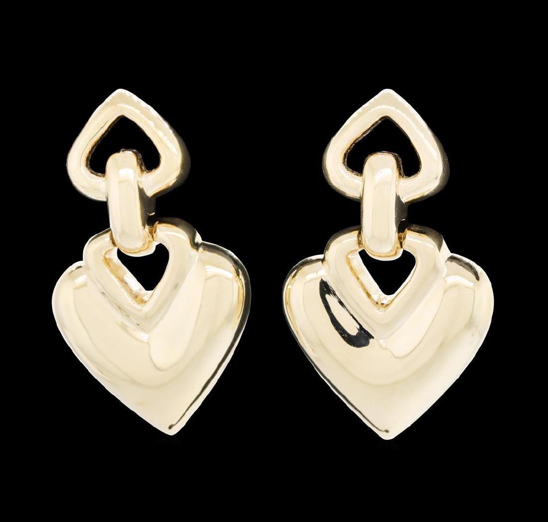 14KT Yellow Gold Heart Shape Dangle Earrings